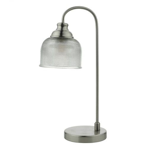 Dar HEC4238 Hector Touch Table Lamp Satin Nickel Decorative Glass